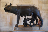 Romulus and Remus with a wolf