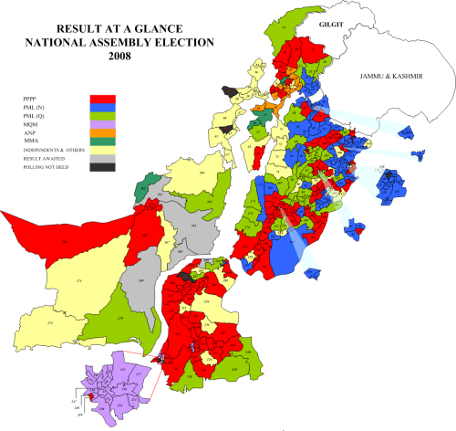 Map of Pakistan election results