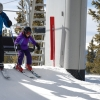 Getting off the chairlift at Keystone